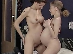 Unshaved pregnant lesbians and german threesome...