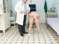 Golden-haired grandma perverted vagina exam with enema