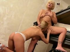 Aged music teacher Orhidea and her youthful student girl Bianka Ravishing licking cunts on the piano