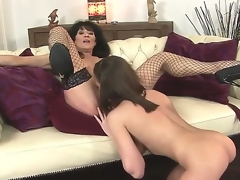 Sympathetic youthful hottie Nelly Sullivan and her experienced dark brown hair milf Regina in the action