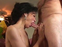 Excited granny with unshaved haired pussy Sage Hughes drilled by her old lover Jay Crew