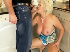 Sexy granny named Effie shows her unshaved pussy and gets a young dick in the mouth
