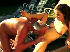 Cute honey Mira gives a steamy head on a mature in advance of getting her tight pussy licked and rammed outdoors