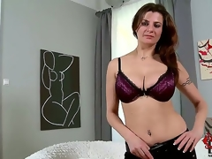 The buxom female-dominant comes in for her casting and wows us with her goody package. Just as admirable as a cup of coffee for our cocks first thing in the morning!
