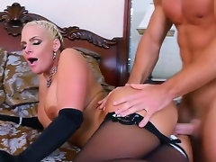 Attractive gorgeous golden-haired bombshell Phoenix Marie with big moist tits and round jaw dropping wazoo in black lingerie enticed youthful muscled stud Johnny Castle and acquires satisfied in bedroom.