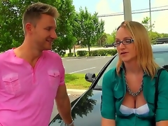 The cute lady in glasses is in need of additional cash, and the dude are ready to help her, but the help doesnt go for free. That babe receive to do the things decent ladies consider frivolous. But the blonde makes up her mind quickly.