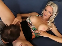 Emma Starr seduces friend of her son Joey Brass to have banging! The dude couldnt resist temptation to fuck this lady! They have oral and proceed with vaginal sex.