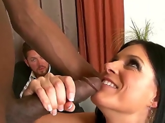 Wicked and very lascivious cougar India Summer sucks off dark man Jon Jon and his massive swarthy ding-dong gives her all the joy that babe desires for so hard.