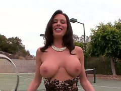 Delightsome black brown slut Veronica Avluv plays a gamer of tennis but that babe has some serious problems with her jugs since they tend to fall out of her bra.