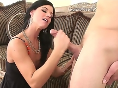 Nice-looking and arousing black haired milf India Summer meets turned on man Scott Stone and enjoys in hot and passionate sex session with lots of licking and ramming on couch
