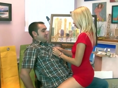 Payton Leigh is a penis hungry cougar with flawless body. Skinny lengthy haired blonde woman in hawt short red dress disrobes down to her pants and takes hard penis in her hawt mouth. She sucks like theres no tomorrow