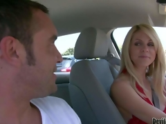 Attractive milf Angela Attison with lengthy blonde hair is a playful cougar. Lady in red flashes her pantoons in a car and turns dude on. This honey would like to have some enjoyment with hot Angela Attison
