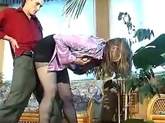 Russian floozy in darksome hose group-fucked