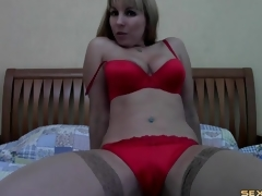 Milf undresses from secretary outfit on web camera
