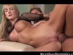 Large breasted golden-haired milf  rides dong