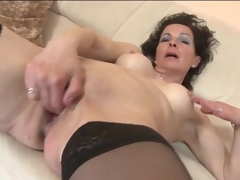 Fingering and toy fucking aged in stockings