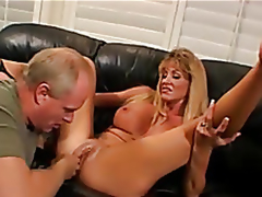 Golden-haired wife fucked, Husband enjoys
