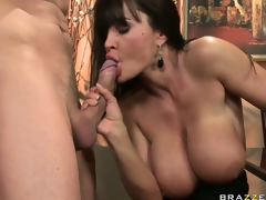 Wicked brunette hair MILF is desirous to smack his creamy treat after her dinner fuck
