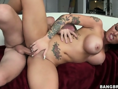 Busty tattooed cunt is riding his bone and is pounded, love melons bouncing