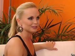 Cougar checks a new porn star's body during a sexy casting call