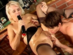 Naughty lesbian granny Marketa acquires fur pie licked and dildoed by aged Leona