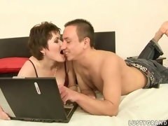 Sexy mature unshaded together with a horny gay blade making love