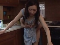 Japanese MILF team-fucked on the kitchenette bar-room