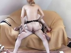 Housewife up a garter belt receives a soaked jizz flow on her face