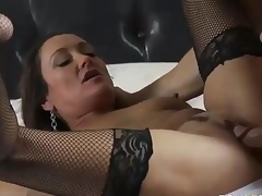 MILF Michelle Lay in dark mesh nylons is sex hungry after  divorce. Johnny Sins is her BF and his cock is big! She blows his meat pole and then receives her eager aged cum-hole drilled.