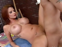 Milfy pornstar Joslyn James with red hair and huge bumpers has a good time with one of her fans who finds his hard rod in her experienced mouth and then unfathomable inside her hawt moist pussy.